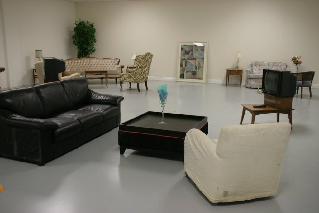 different leather lounges inside a store